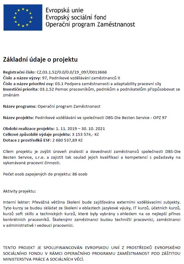 Operační programy z EU - DBS